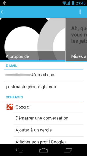 Android 4.0 Ice Cream Sandwich profil contacts