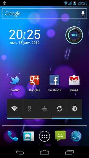 Android 4.0 Ice Cream Sandwich écran d'accueil thème Holo