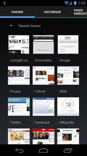 Android 4.0 Ice Cream Sandwich favoris navigateur internet