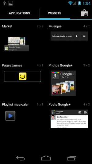 Android 4.0 Ice Cream Sandwich widgets