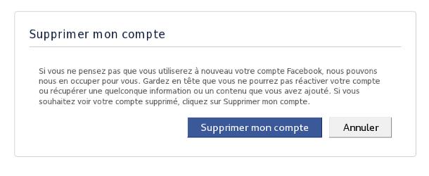 Facebook supprimer mon compte