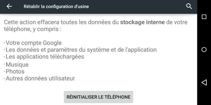 Problème Android réinitialisation