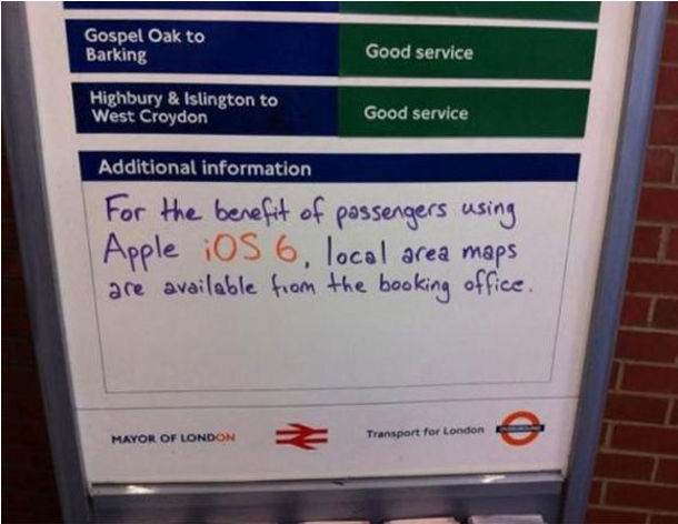 Apple Maps troll métro Londres