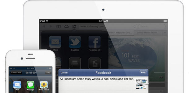 Apple iOS 6 facebook