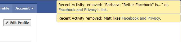 Activité récente Facebook