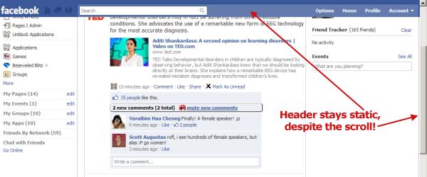 Barre du haut et colonne de gauche facebook