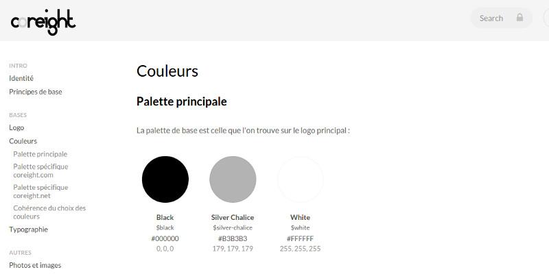 Charte graphique couleurs