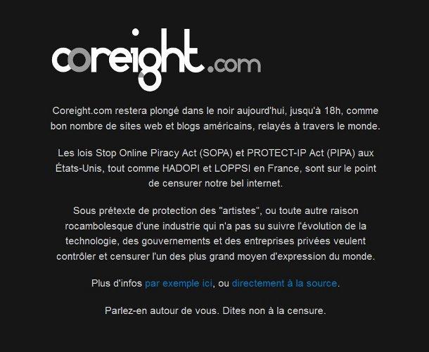 Coreight.com blackout SOPA