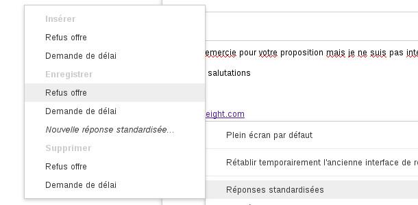 emails réponses standardisées