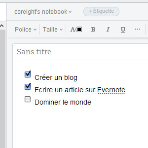 Evernote liste de tâches