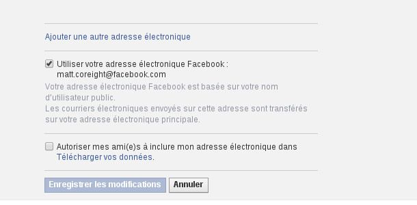 Facebook adresse mail