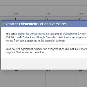 Facebook agenda export