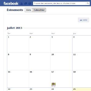 Facebook agenda vue calendrier