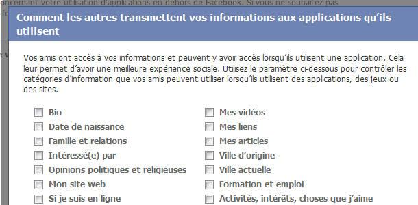 Facebook amis applications