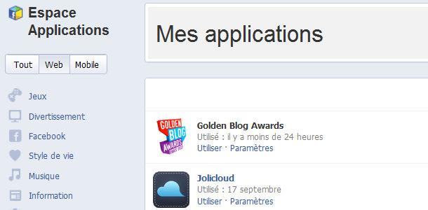 Facebook Espace applications