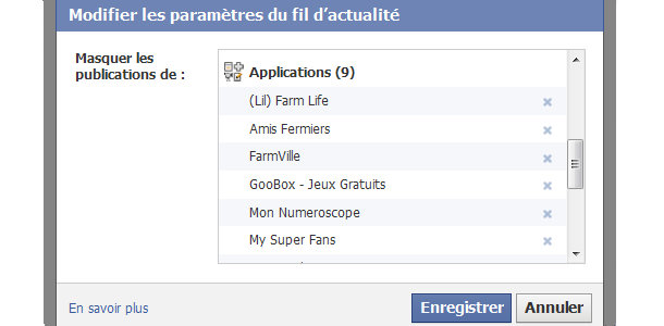 Facebook notification applications fil d'actualité