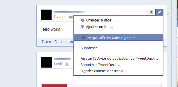 Facebook notification applications journal timeline