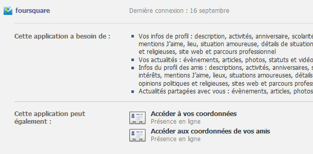 Facebook paramètres applications