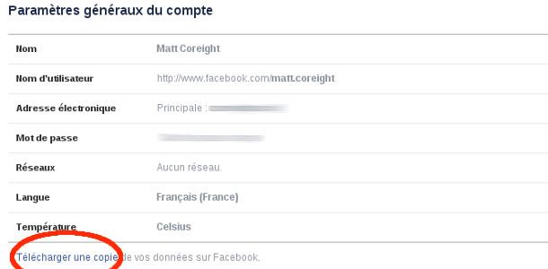 Facebook télécharger une copie de ses données