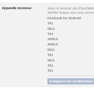Facebook appareils reconnus