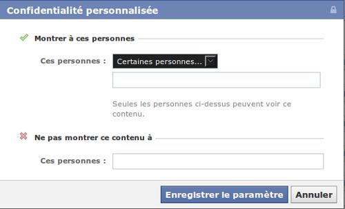 Facebook confidentialité personnalisée