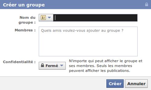 Facebook créer un groupe