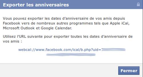Faceboo export anniversaires