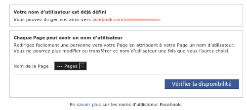 Facebook URL personnalisée
