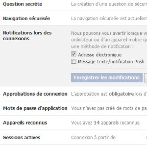 Facebook notification de connexion