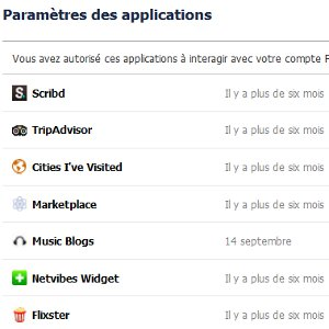 Facebook paramètres applications