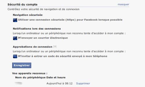 Facebook sécurité