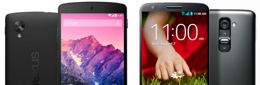 Nexus 5 VS LG G2, le grand match