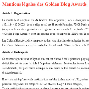 GBA mentions légales