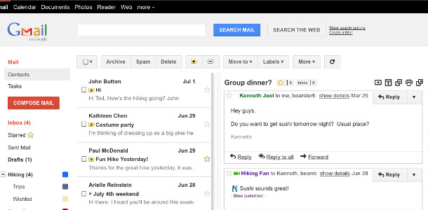 Gmail volet d'aperçu