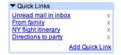 Gmail Labs liens rapides