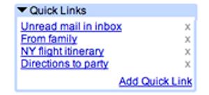 Gmail liens rapides