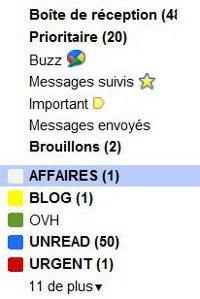 Gmail colonne menu
