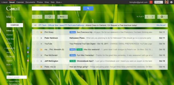 Gmail nouveaux thèmes