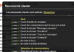 Gmail raccourcis