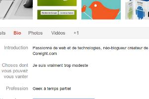 Google+ bio