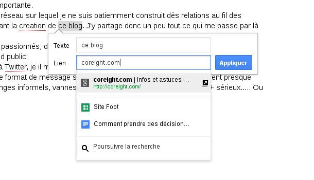 Google docs insérer liens
