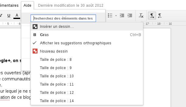 Google docs recherche de fonctions