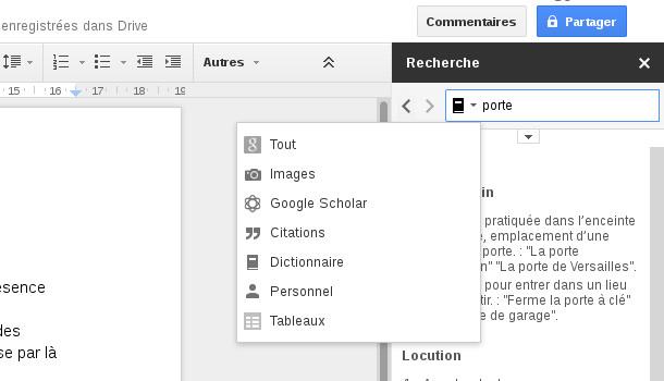 Google docs recherche et dictionnaire