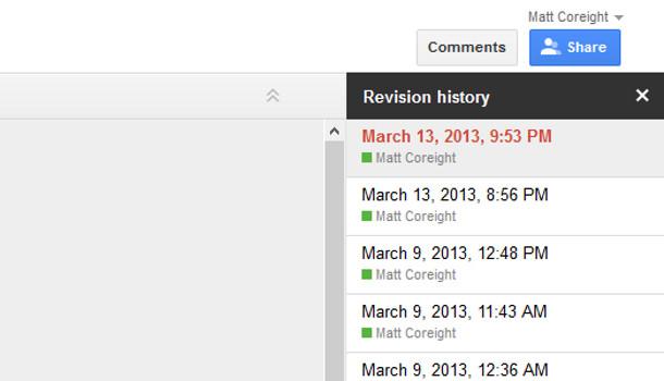 Google docs révisions