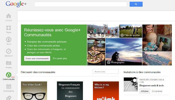 Google+ communautés accueil
