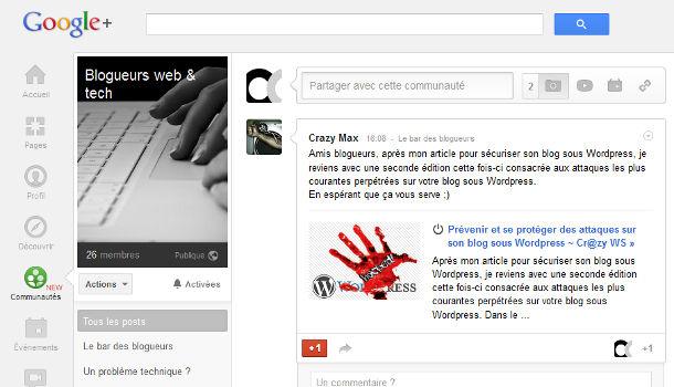 Google+ communautés