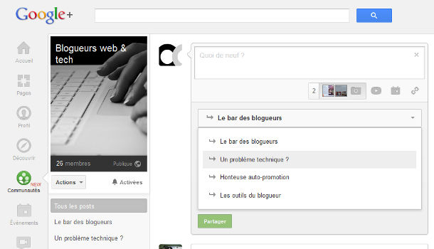 Google+ communautés post