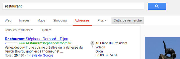 Recherche Google Adresses