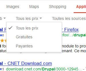 Google recherche application filtre par prix