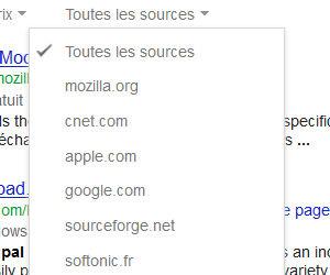 Google recherche application filtre par source